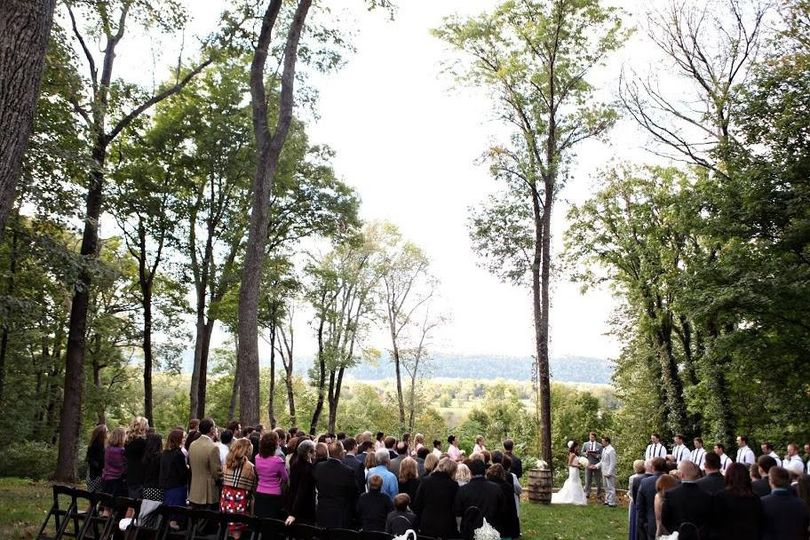 Outdoor Ceremony in October located at The Overlook at Goshen Crest Farm.