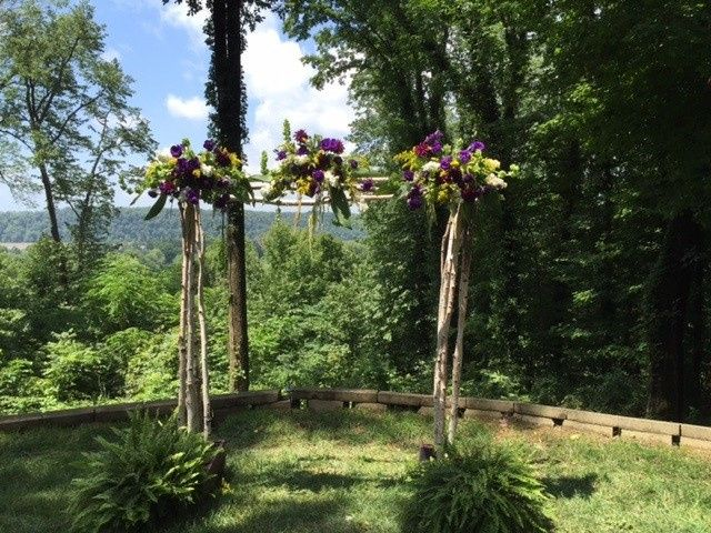 Outdoor Ceremony in July located at The Overlook at Goshen Crest Farm.  Custom decorated arbor by In...