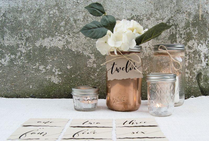 Mason jar tie on table numbers