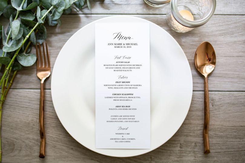 Ann Marie wedding menu