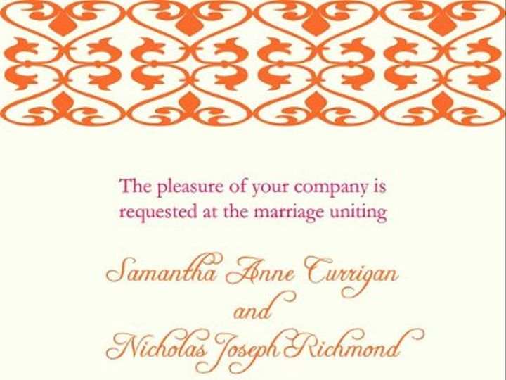Tmx 1247766978739 Orangedamask2 Mount Holly wedding invitation
