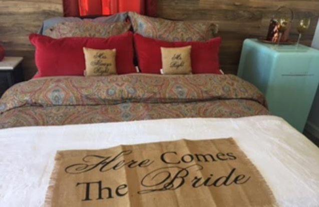 Inside the Bride's cottage.
