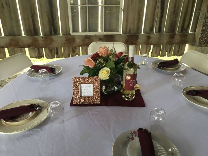 Brides Family Table with Flowers and Accents