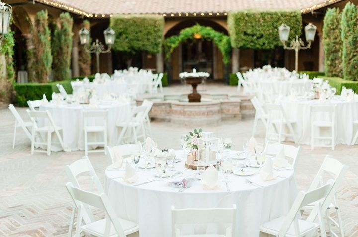 Snow white reception tables