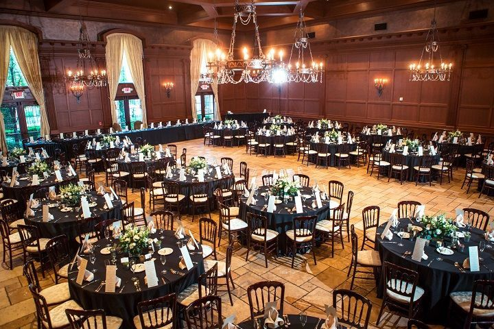 Black round tables and decor
