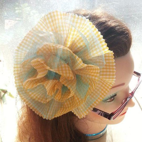 turquoise tulle gingham full fabric flower fascina