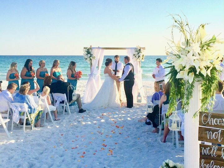 BJ and Jessica enjoyed gorgeous weather and a stress free ceremony compliments of Beach Weddings of...