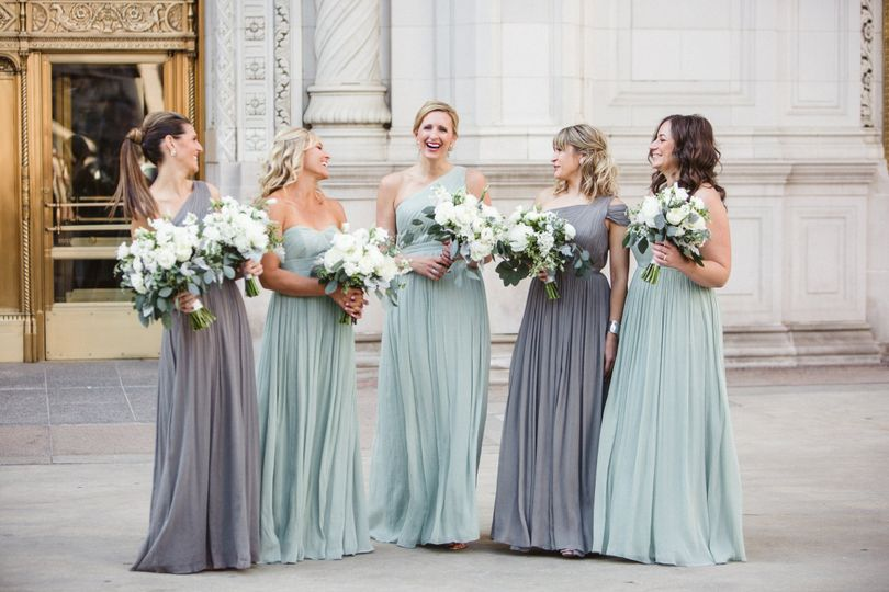 Bride along with bridesmaids
