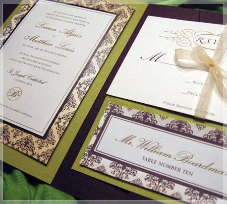 This layered wedding invitation is printed on a beautiful white linen paper stock, and is sure to...