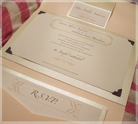This invitation is printed on white linen paper stock, mounted on gold pearlized card stock and...
