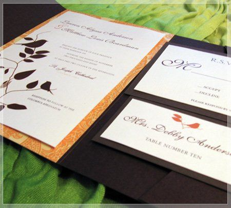 This contemporary invitation is perfect for any wedding. Printed on white linen paper stock and...