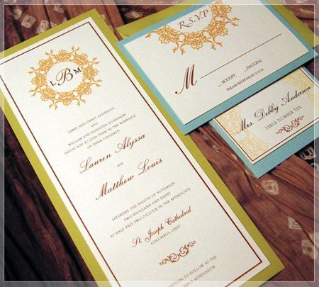 This wedding invitation is printed on white linen paper stock and mounted on a green-textured...