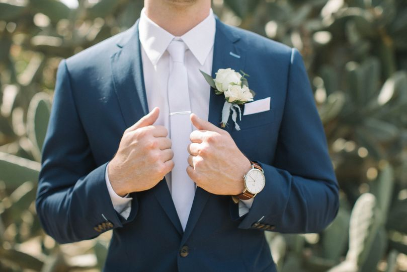 Suit with boutonniere