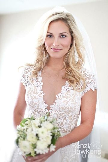 Low v-neckline wedding dress