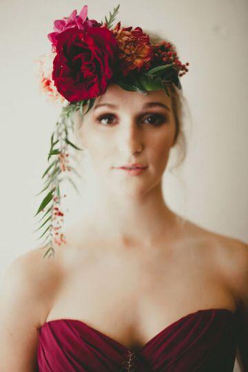 Bridesmaid with flower head dress
