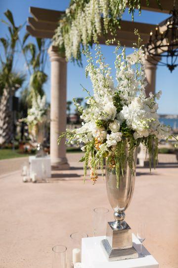 White flower decor outdoors