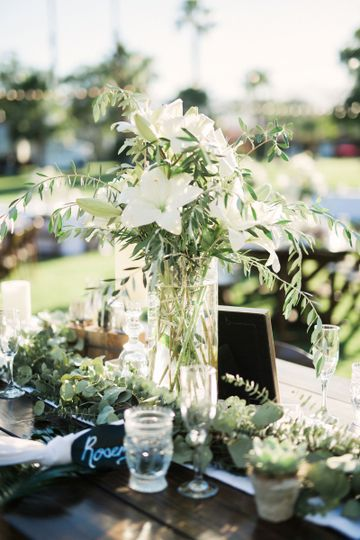 White and green palm springs wedding