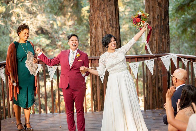 Elated newlyweds