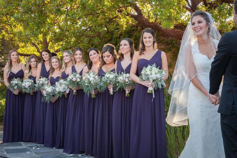 A bride and bridesmaids
