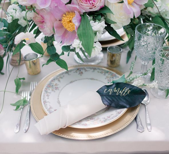 Floral china & clear goblets