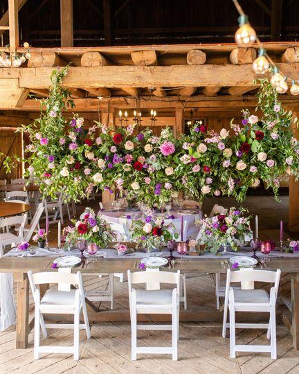 Purple china & goblets