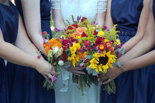 Bridesmaids and bride with flowers
