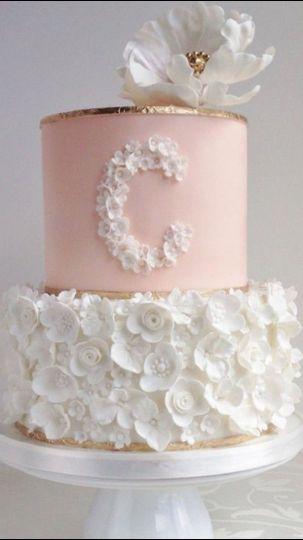 wedding cake pink white and gold
