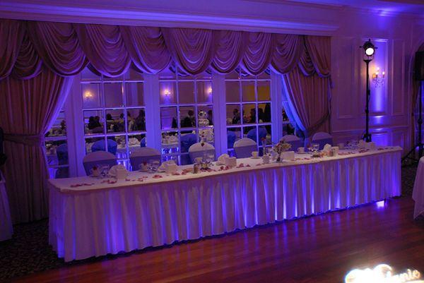 Sweetheart and head table lighting