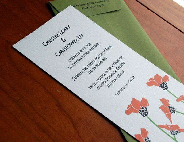 The Poppy Art Deco Invitation. Printed on luxurious textured cardstock with coordinating green top...