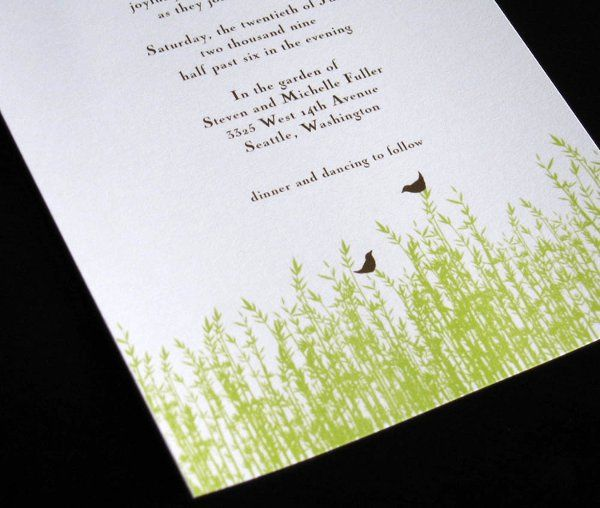 Blades of Grass Invitation printed on 100% post consumer recycled cardstock.