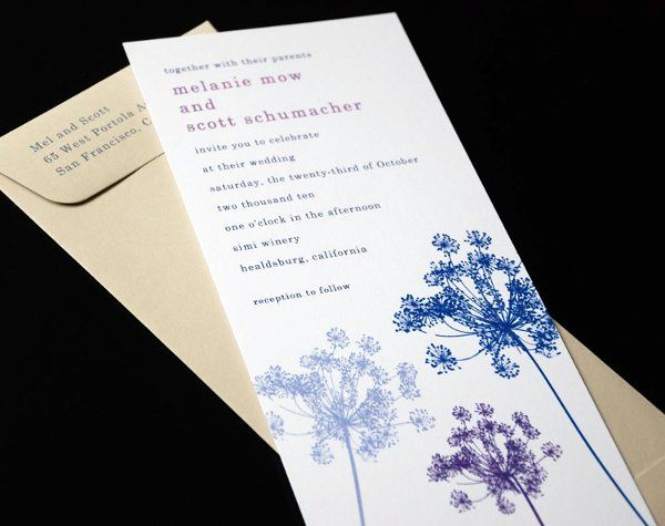 Modern blue and purple queen anne's lace wedding invitations with coordinating gray envelope.