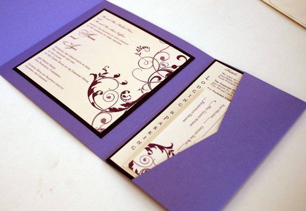 7 x 7 metallic purple pocketfold wedding invitation with insert and reply set