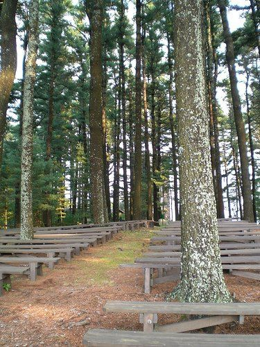 Seating area for outdoor ceremonies at the Cathedral of the Pines, Rindge, NH