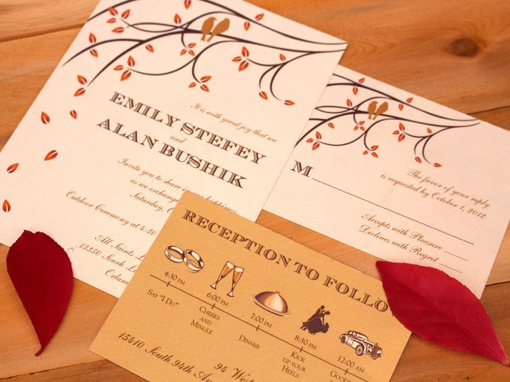Tmx 1414777329542 Birdsfallinvitation Oak Forest, IL wedding invitation