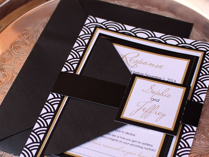 Tmx 1414777337902 Blackgoldpatternedinvitation Oak Forest, IL wedding invitation