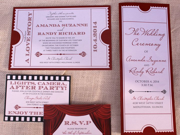 Tmx 1414777404502 Movieticketinvitationensemble Oak Forest, IL wedding invitation