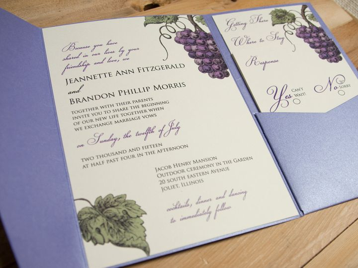 Tmx 1421949298142 Winegrapesopen Oak Forest, IL wedding invitation