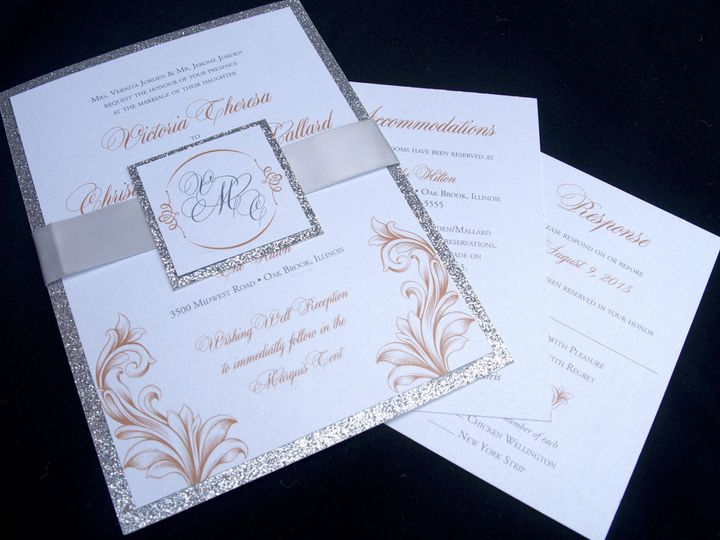 Tmx 1442944766150 Glitterribbonbellyband Oak Forest, IL wedding invitation
