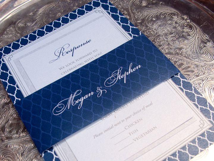 Tmx 1442945760535 Bluepatternbellyband Oak Forest, IL wedding invitation