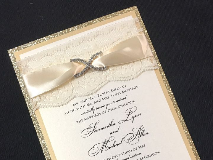 Tmx 1481654678969 Gold Glitter With Satin Ribbon Oak Forest, IL wedding invitation