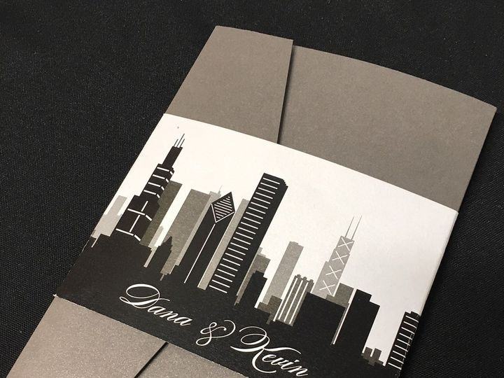 Tmx 1481656073665 Chicago Skyline Pocket Oak Forest, IL wedding invitation