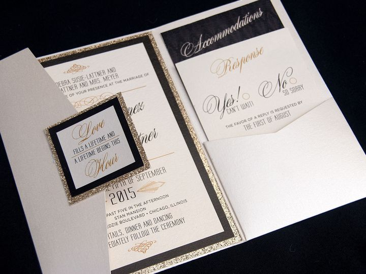 Tmx 1481656126184 Goldglitterpocket Oak Forest, IL wedding invitation