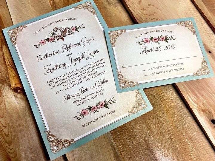 Tmx 1481656335453 Antiquefloral Oak Forest, IL wedding invitation