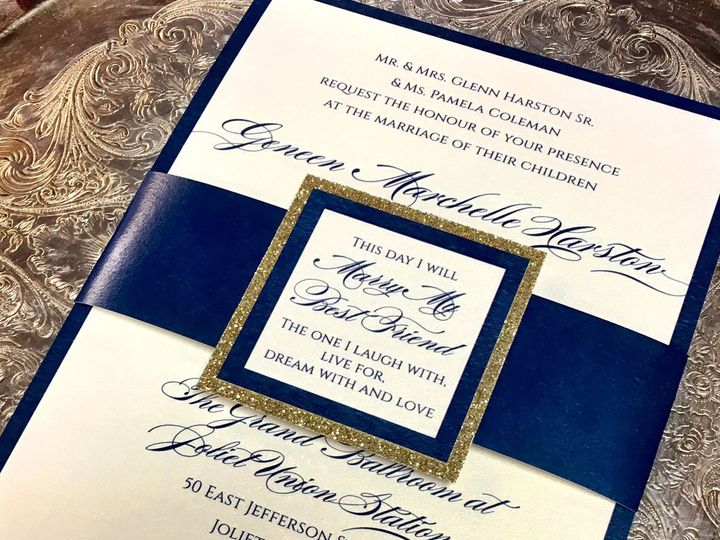 Tmx 1481656353484 Blueglitterbellyband Oak Forest, IL wedding invitation