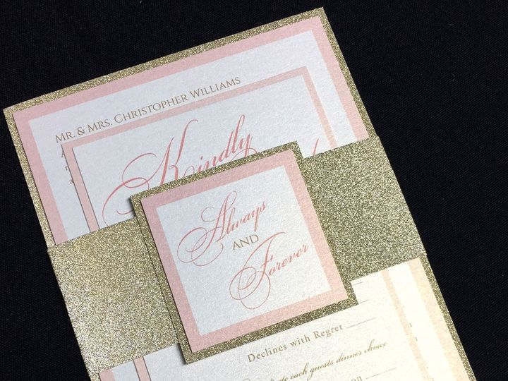 Tmx 1481656459647 Pinkgold Pic Oak Forest, IL wedding invitation