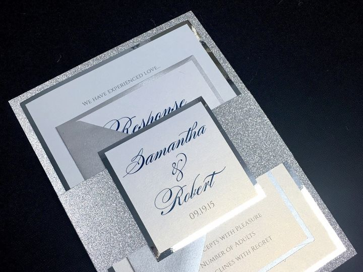 Tmx 1481656616448 Silver Mirror Invite Oak Forest, IL wedding invitation