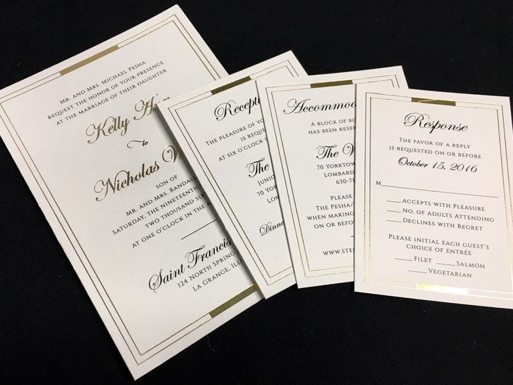 Tmx 1503605940344 Gold Foil Oak Forest, IL wedding invitation