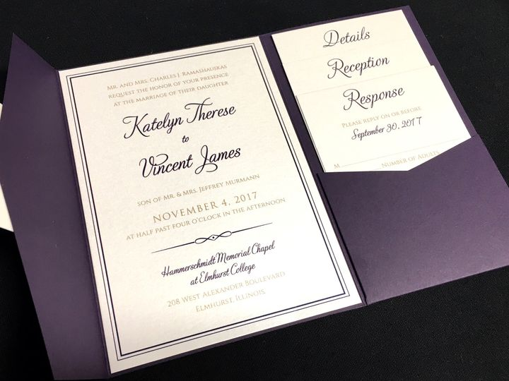 Tmx 1503606093404 Simpleborderinvitation Oak Forest, IL wedding invitation