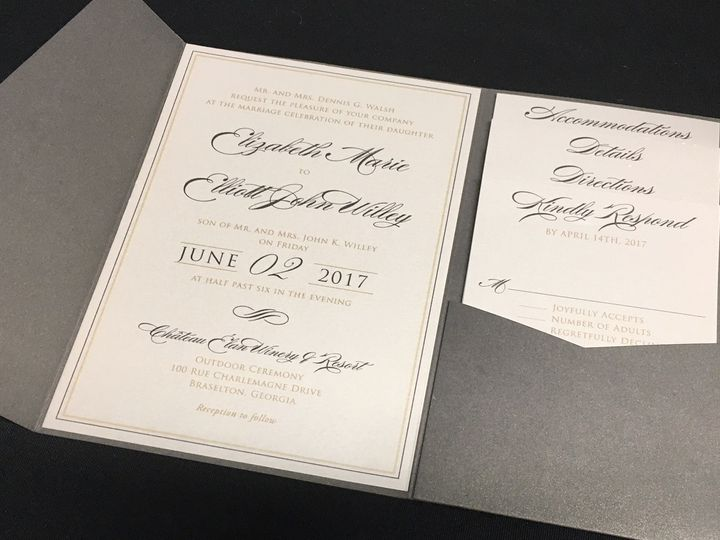 Tmx 1503607060779 Grey Elegance Oak Forest, IL wedding invitation