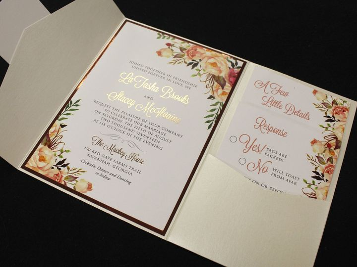 Tmx 1523993666 Ebffdc16a344680b 1523993664 8e413e0b87f5a011 1523993660913 6 Rose Gold Foil Oak Forest, IL wedding invitation